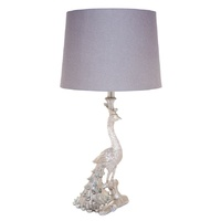 Peacock Table Lamp - Silver
