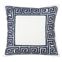 Greek Key Cushion Blue