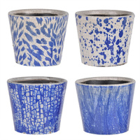 Washed Blue Planters Set of 4