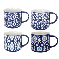 Blue & White Patterned Mugs set of 4