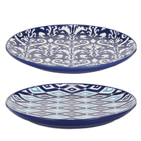 Blue & White Patterned ceramic Plates set of 2