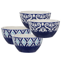 Blue & White Patterned Bowls set of 4
