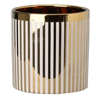 Herringbone Gold Planter Striped