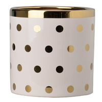 Herringbone Gold Planter Polka Dot