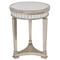 Mirrored Pedestal Round Side Table Antique Ribbed