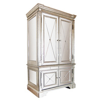 Mirrored Storage Cabinet Antiqued Ribbed