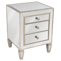 Mirrored 3 Drawer Bedside Antique Seamless