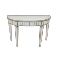 Mirrored Half Circle Console Table Antique Ribbed