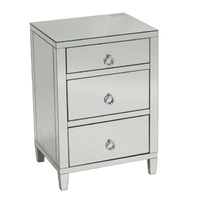 Glamour Mirrored 3 Drawer Bedside