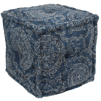 Faded Indigo Circle Square Ottoman