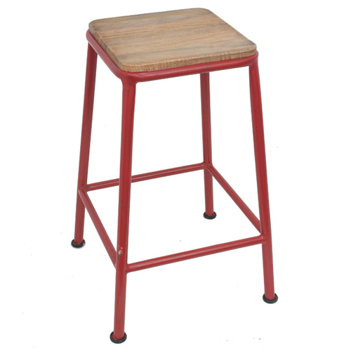 Vintage Industrial Barstool Red