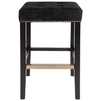 Canyon Black Oak Bar Stool - Black Suede