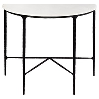 Heston Marble Demilune Table - Black