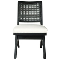 The Imperial Dining Chair - Black Frame w White Linen