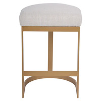 Brooke Brass Kitchen Stool - Natural Linen