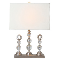 Trio Crystal Table Lamp w/Cream Shade decorator
