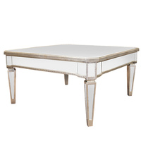 Mirrored Coffee Table Antique Ribbed square