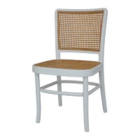 Palm Rattan Dining Chair White & Natural