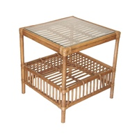 Americana Side Table in Tobacco finish with Glass top