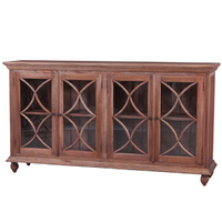 Country Cottage 4 door Tall Mahogany Wood Sideboard/Buffet